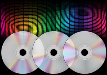 Abstract Background - Compact Discs and Multicolor Equalizer on Black Background Vector