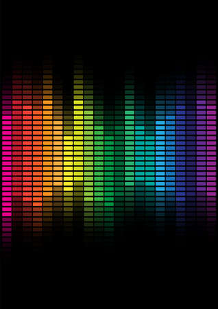 Abstract Background - Multicolor Equalizer on Black Background Stock Vector - 8242605