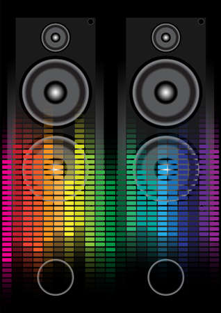 Party Background - Loudspeaker and Multicolor Equalizer on Black Background Vector
