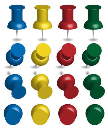 Illustration of Pushpins in Four Colors Vector