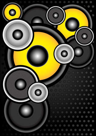Party Background - Speakers in Different Colors on Metallic Background
