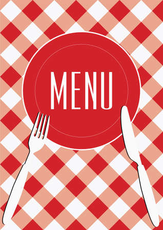 Menu Card Background - Red Gingham & Cutlery Vector