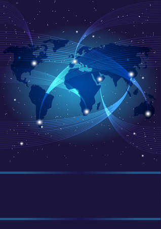 optics: Background - Optical Fibers, World Map and Stars on Dark Blue Background Illustration