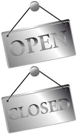 abrir puertas: Met�licos signos abiertos  cerrados Vectores