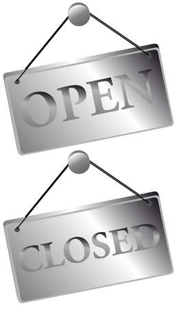 close to: Metallic Open  Closed Signs