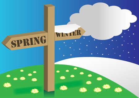 Spring / Winter Signpost Stock Vector - 8690450