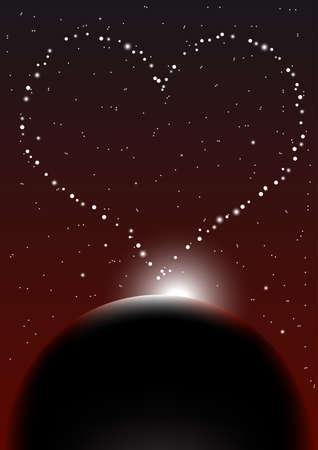 sonne mond: Valentin Nacht Himmel Hintergrund Illustration
