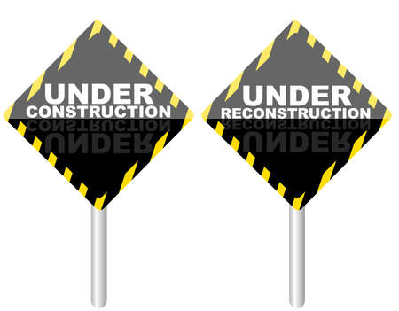 in the reconstruction: Under Construction  Under Reconstruction Signposts isolated on white Illustration