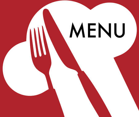bistro: Menu Card Background -  Cutlery and Menu Sign on Dark Red Background