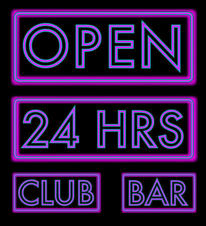 Set of Different Neon Signs on Black Background Vector