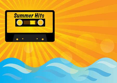 hits: Retro Audio Cassette Tape on Summer Background Illustration