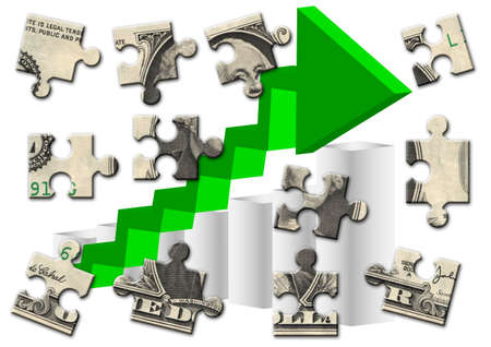 profit graph: Dollar Banknote Puzzle Stock Photo