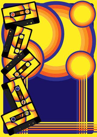 casette: Retro Party Background  Illustration