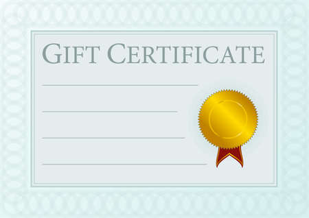 Blank Gift Certificate Document With Golden Seal Vector