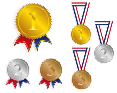 best place: Golden, Silver and Bronze Medals With Ribbons