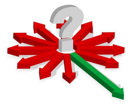 Signo de interrogación y rojo y verde flechas Ilustración de vector