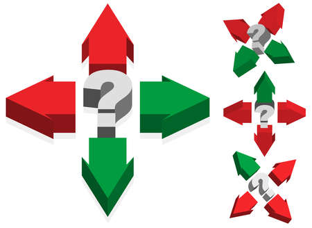 difficult decision: Question Mark and Red and Green Arrows Illustration