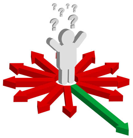 Man, Question Mark and Red and Green Arrows - Finding Right Way