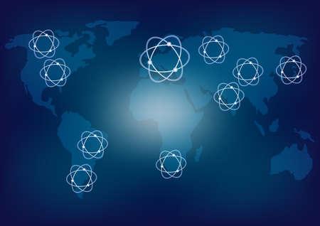 Carte du monde et les icônes de l'énergie nucléaire sur fond bleu