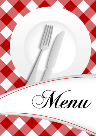 checked: Menu Card Design - Red Gingham Texture With Plate, Cutlery and Menu Sign