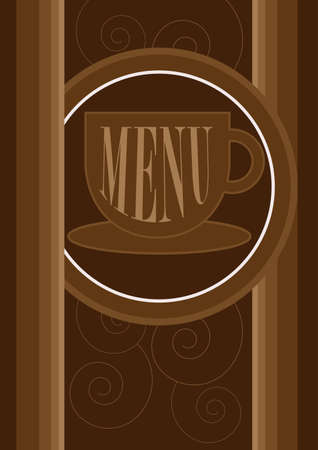 expresso: Menu Card Design - Menu Sign on Coffe Cup and Pattern in Shades of Brown Illustration