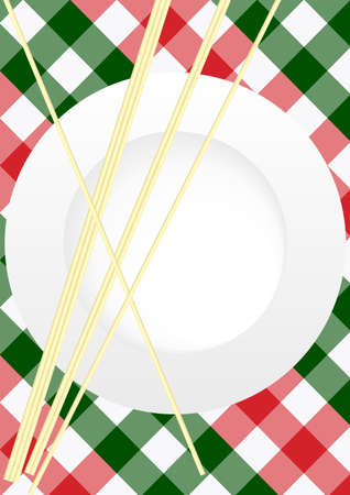 spaghetti: Menu Card Design - Red and Green Gingham Texture With Plate and Pasta Illustration