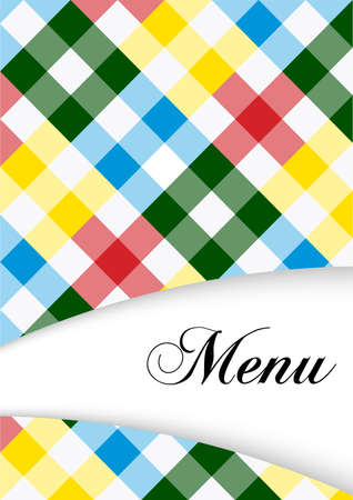 Menu Card Design - Menu Sign on Multicolor Gingham Texture Stock Vector - 9119866