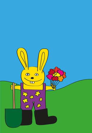 Childlike Drawing of Easter Bunny - Gardener Holding Bunch of Flowers Illustration