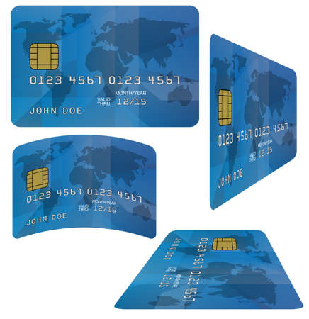 Blue Fictitious Credit Card on White Background Vector