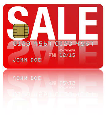 Fictitious Credit Card With Sale Sign on White Background Vector