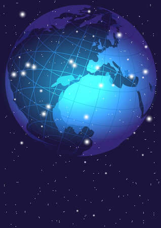 Blue Abstract Background - Night Sky With Globe, World Map Vector