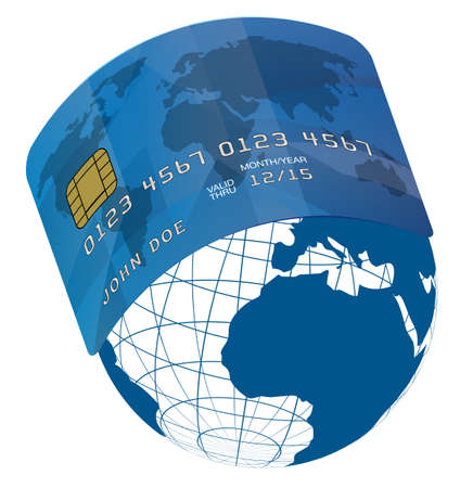 debit cards: Blue Fictitious Credit Card on Blue Globe - World Map