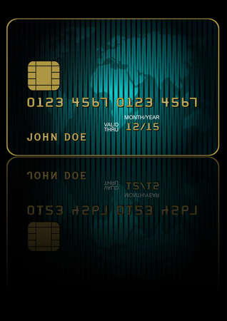 debit: Fictitious Credit Card With World Map on Dark Background