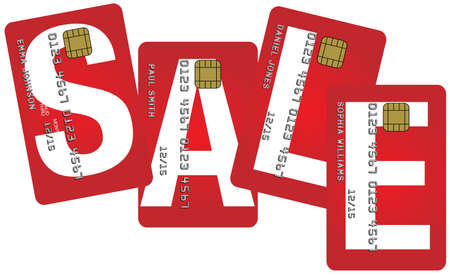 sales bank: Fictitious Credit Cards With Sale Sign Isolated on White Background