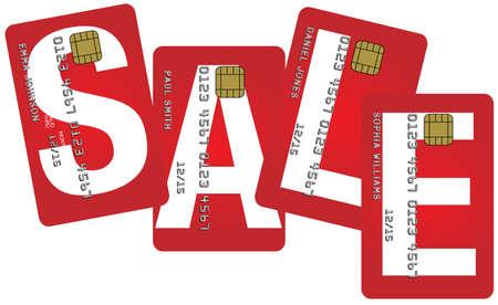 atm card: Tarjetas de cr�dito ficticias con signo de venta aislada sobre fondo blanco Vectores