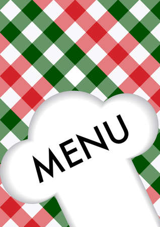 red gingham: Menu Card Design - Menu Sign and Chefs Hat Symbol on Red and Green Gingham Texture Illustration
