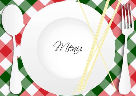 Diseño de la tarjeta del menú - rojo y verde moña textura con placa, cubiertos y Pasta