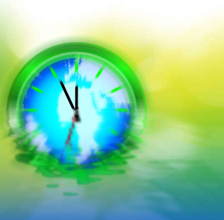 Abstract Background - Clock With World Map on Natural Bokeh photo