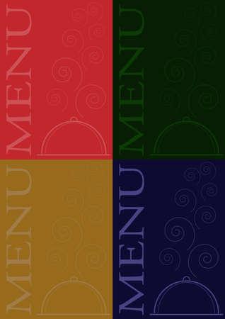 Set of Menu Card Designs - Service Plate Symbol on Dark Background Vector