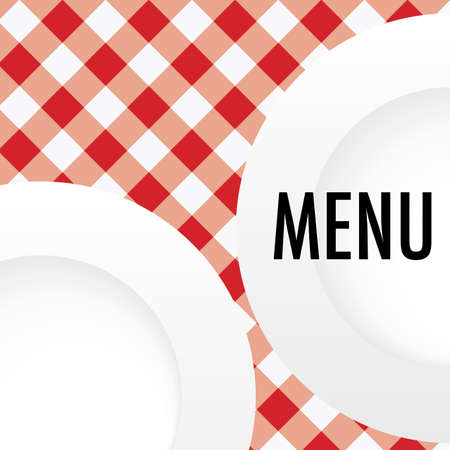 Menu Card - White Plates on Red and White Gingham Texture Vector