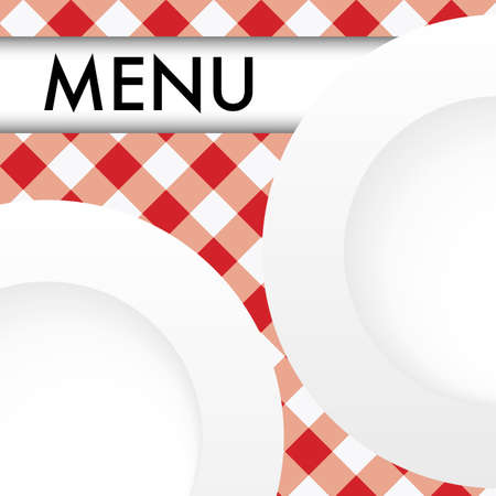 checked: Menu Card - White Plates on Red and White Gingham Texture