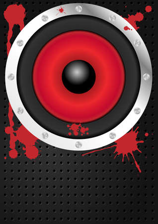 soundsystem: Party Background - Loudspeaker and Red Stains on Metallic Background