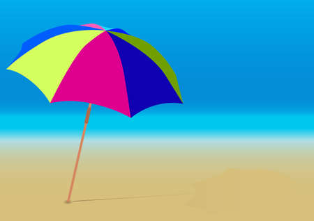 Summer Background - Beach Umbrella on Empty Sandy Beach Vector