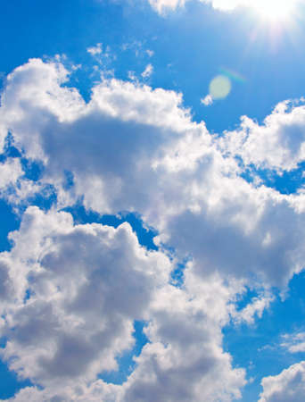 cumulus: Summer blue sky with clouds and sun Stock Photo