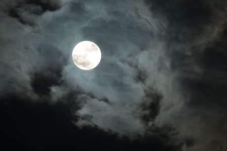 Night Sky - Full Moon and Dark Clouds Stock Photo - 9356780
