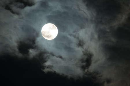 Night Sky - Full Moon and Dark Clouds Stock Photo - 9356780