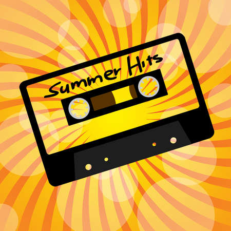 Summer Party Background - Retro Audio Cassette Tape on Sun Beams Vector
