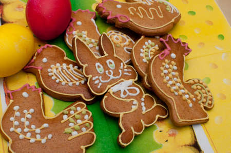 Easter  Spring Gingerbread - Domestic Animals Shaped Ginger Breads and Painted Eggs photo