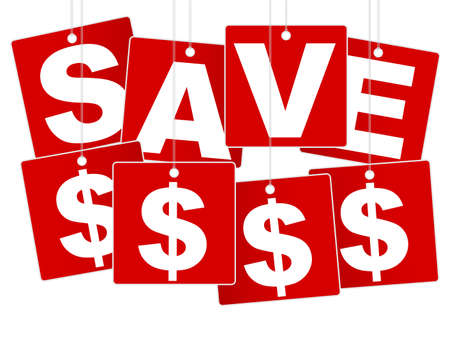 tally: Sale Sign - White Save Money Sign on Red Background