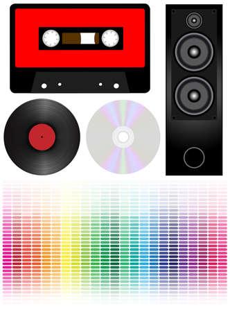 lp: Set of Audio Cassette Tape, Vinyl LP Record, CD Disc, Loudspeaker and Graphic Equalizer